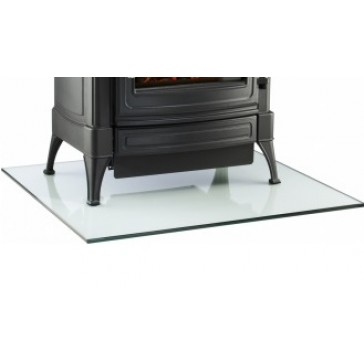 Glass hearth for wood burning stove