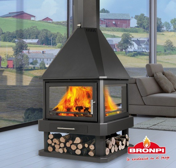 Bronpi Huelva Stove 4 Sided Fireplace
