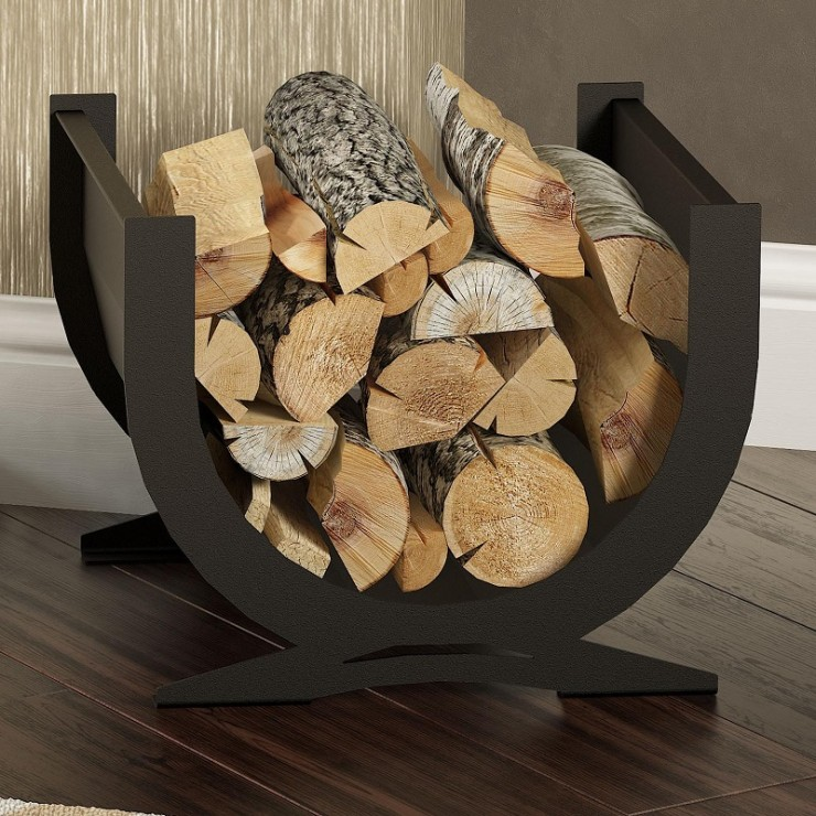 Contemporary Curved Log Holder | Indoor Log Storage | Broseley Log ...