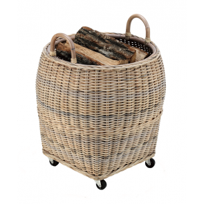Dixneuf Farol Log Holder - Natural Rattan on Castor Base