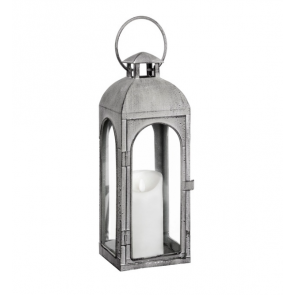 Distressed Matte Grey Metal Coach Lantern