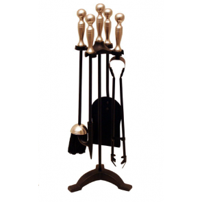 Black & Antique Ball Top Companion Set