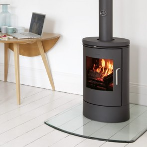 Curved front glass hearth