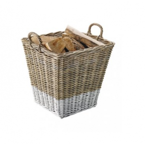 dixneuf Archipel Rattan Log Basket - White & Natural