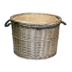 Antique wash large round log basket with rope handles