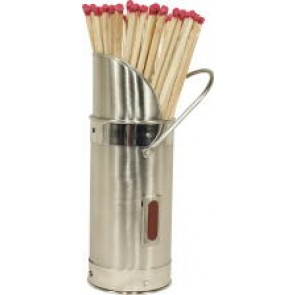 Satin & Polished Steel Match Holder with Matches
