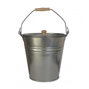 Galvanised Ash bucket with lid