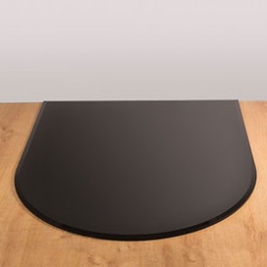 Circular Front Glass Hearth Black