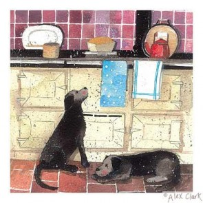 Alex Clark 'Holly & Sally' Print - Traditional AGA range cooker with dogs