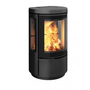 Hwam 2610 wood-burning stove in black with glass door