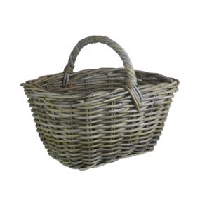 Grey Rattan Kindling Basket