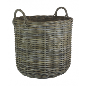 Large Grey Rattan Round Log Basket