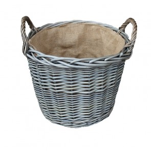 Extra Large Firewood basket in antique wash finish complete with hessian lining