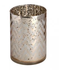 Silver Gold Chevron Patterned Tealight Holder