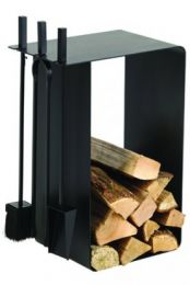 Dixneuf Artigo Log Holder & Firetool Set in black