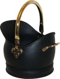 Black & Solid Brass Kenley Medium Coal Bucket