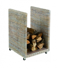 Dixneuf Novo Rattan Log Holder on wheels