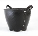Black Recycled Tyre Log Holder