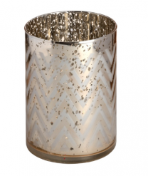 Silver Gold Chevron Patterned Tealight Holder