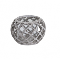 Round Ceramci Lattice Hurricane Lantern