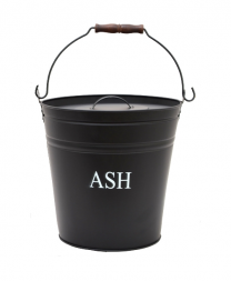 Black painted Metal Ash Bucket with Lid