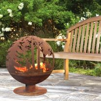 Outdoor Fireplace with Woodland in oxidised metal