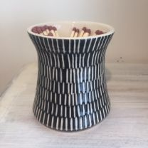 Lorna Clay Match Pot with Matches in black