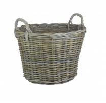 Round Kubu Grey Rattan Log Basket