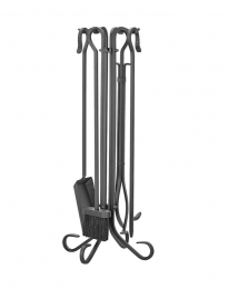 Shepherds Comapnion Set in Black - includes stand, shovel, brush, poker and log tongs